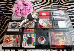 vogue coffee table vignette clear table cassina 4 sections books flowers objects cococozy