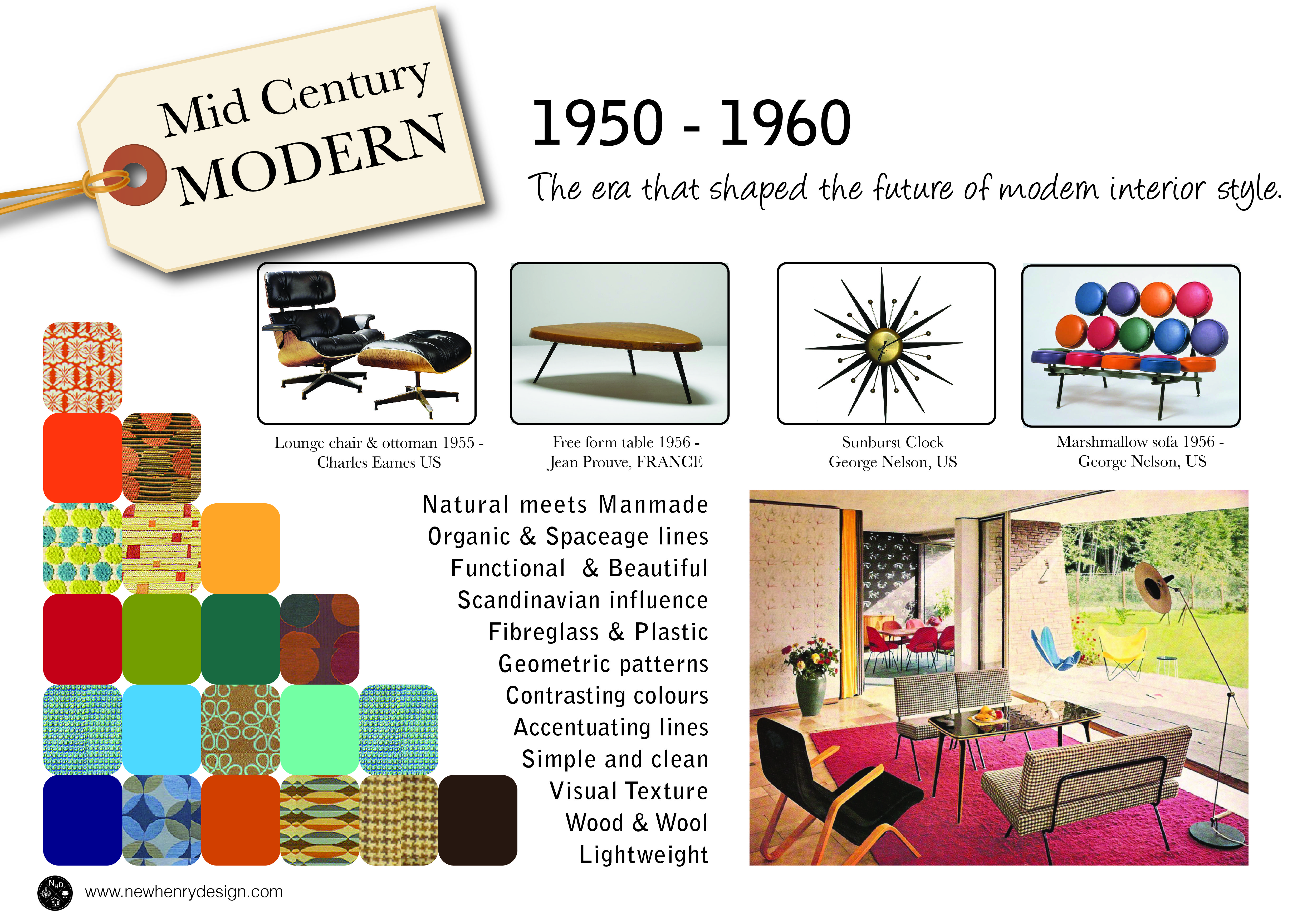 Mid century modern a poster overview new henry design for Mid century modern design principles